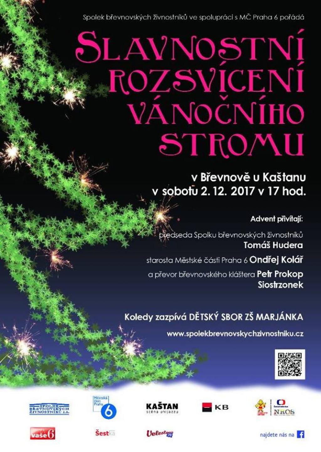 Slavnostní rozsvícení břevnovského vánočního stromu 2017