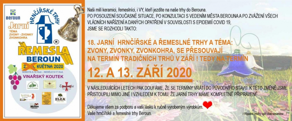XVIII. JARNÍ HRNČÍŘSKÉ A ŘEMESLNÉ TRHY 2020 Beroun - přesunuto