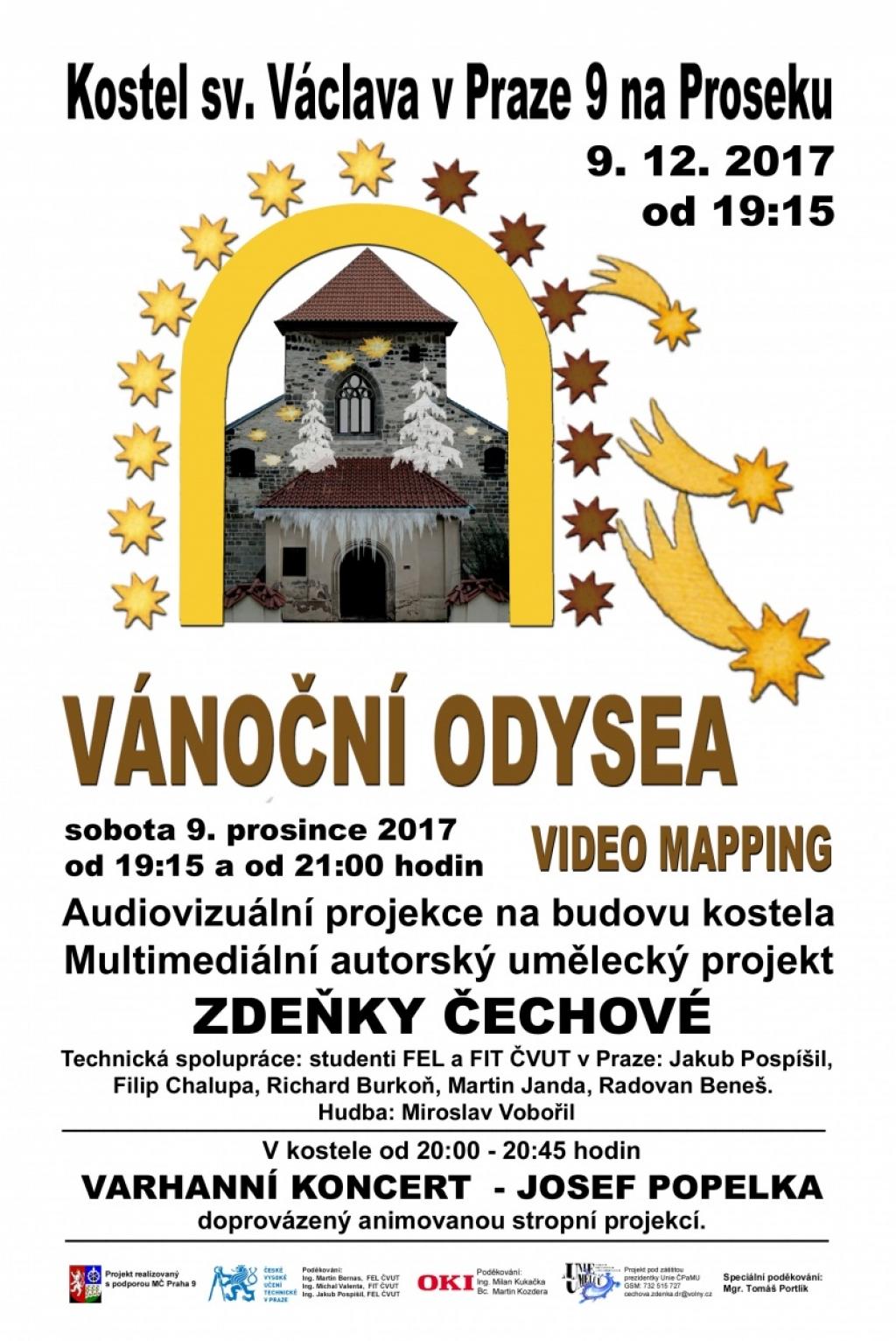 Vánoční Odysea: Videomapping na fasádě kostela sv. Václava na Proseku