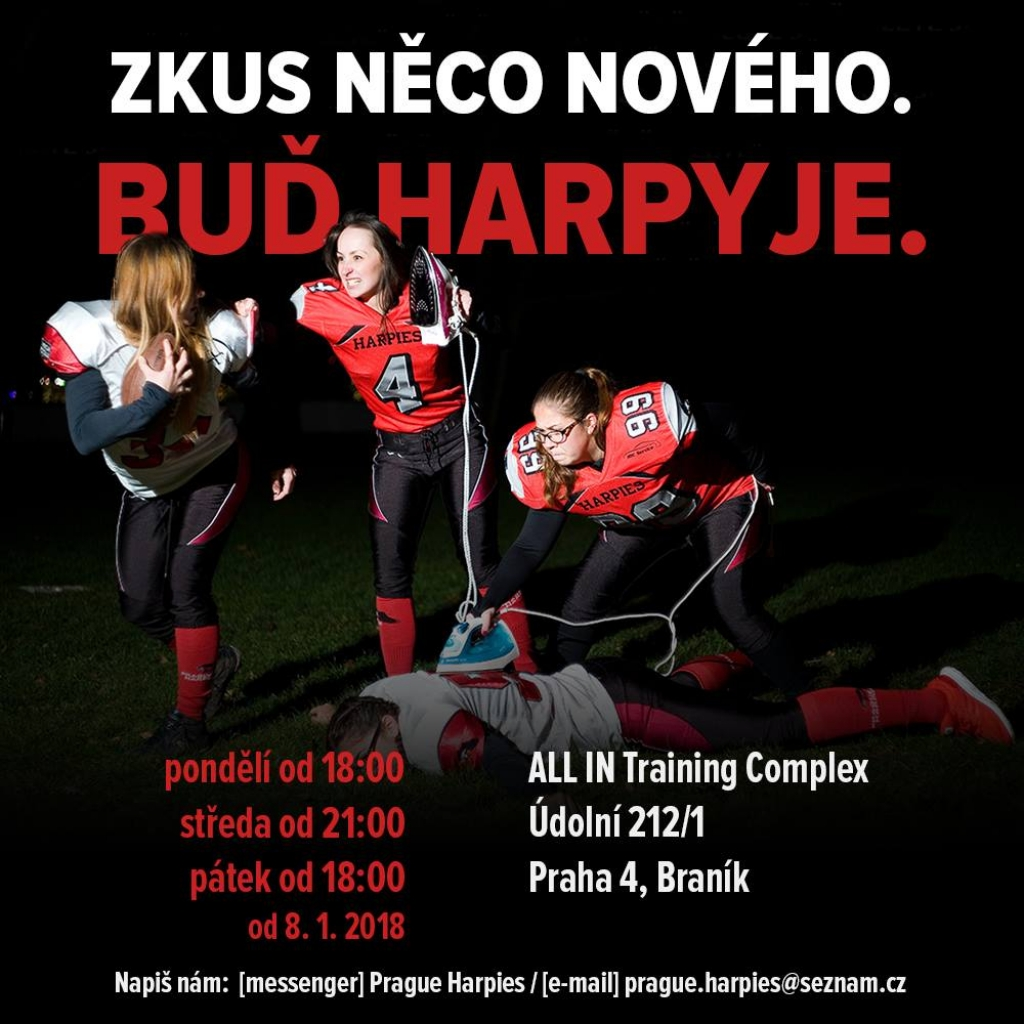 Trénink s týmem amerického fotbalu Prague Harpies
