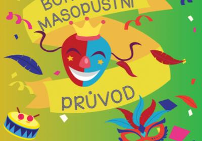 Bohnický masopustní průvod s maskami a vystoupením kapely Načarej