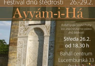 """pozvánka: Festival Bahá'í dnů štědrosti """"Ayyám-i-Há"""""""