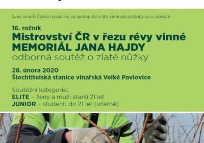16. ROČNÍK MISTROVSTVÍ ČR V ŘEZU RÉVY VINNÉ – MEMORIÁL JANA HAJDY